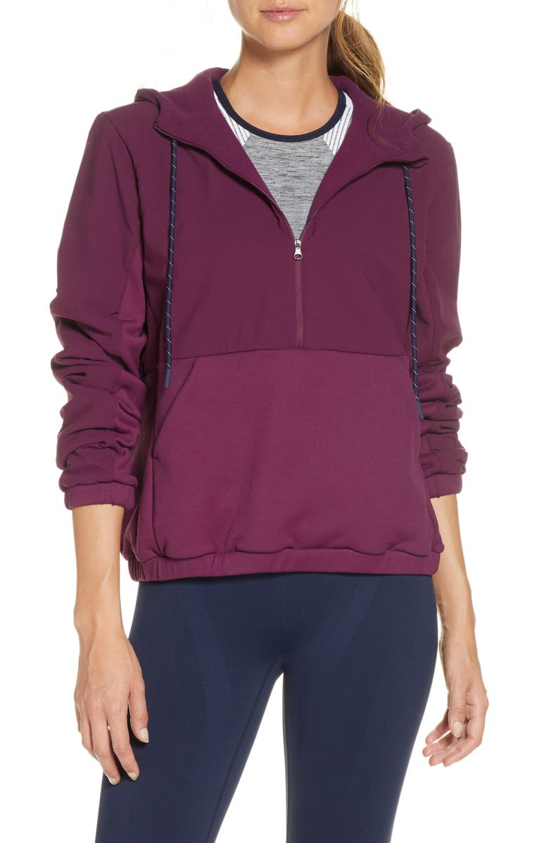 LNDR Commuter Half Zip Pullover Jacket, Main, color, BLACKBERRY