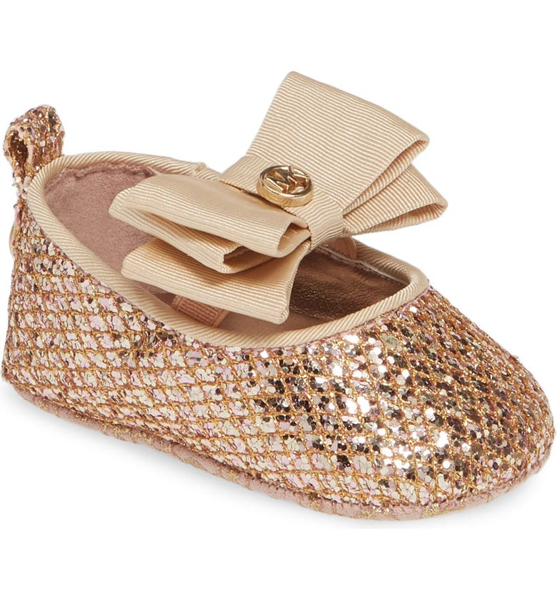 MICHAEL MICHAEL KORS Baby Day Glittery Crib Flat, Main, color, ROSE GOLD