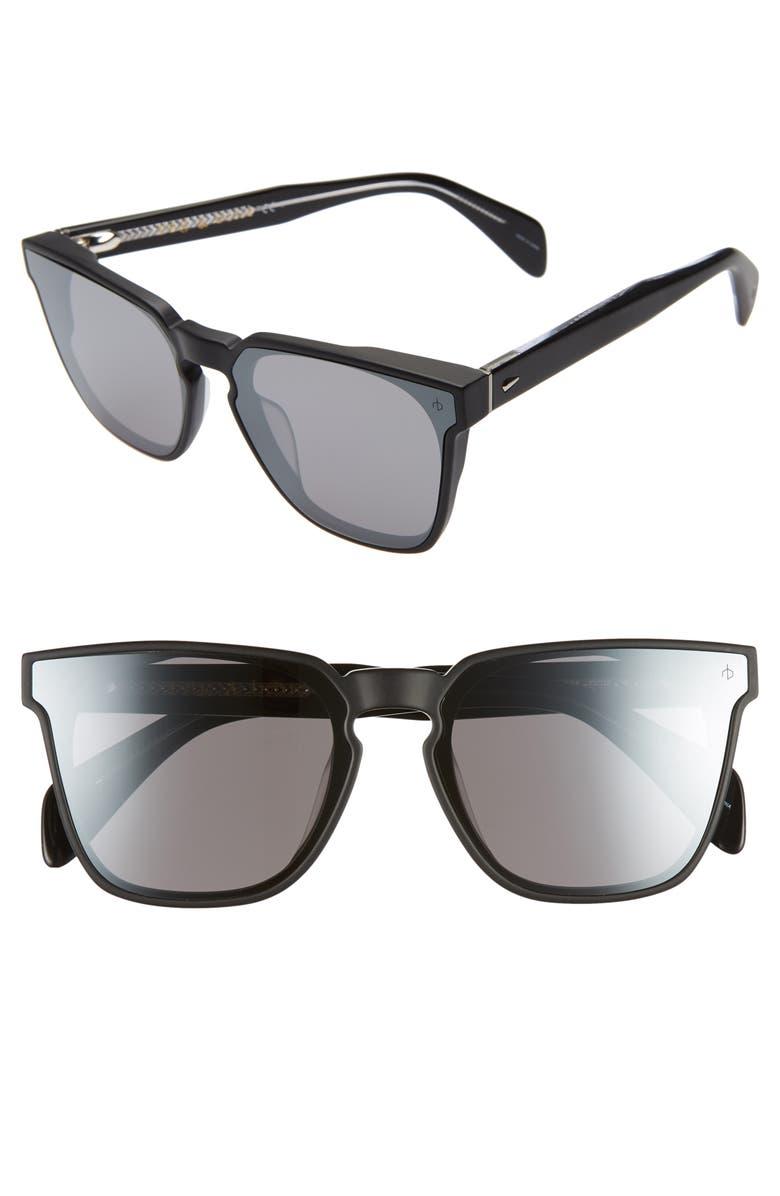RAG & BONE 62mm Oversize Flat Front Sunglasses, Main, color, MATTE BLACK