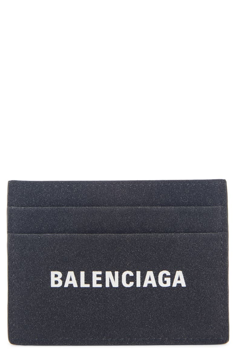 BALENCIAGA Everyday Logo Leather Card Case, Main, color, BLACK