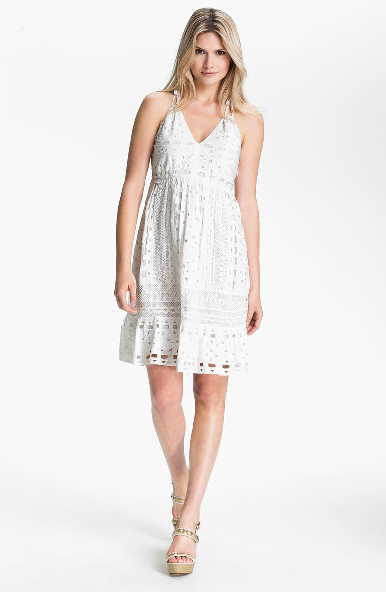 MICHAEL MICHAEL KORS Eyelet Dress, Main, color, 100