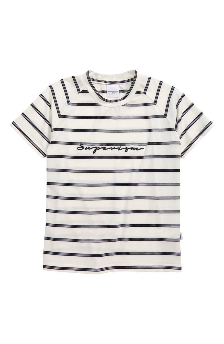 SUPERISM Garnet Stripe Raglan T-Shirt, Main, color, 410