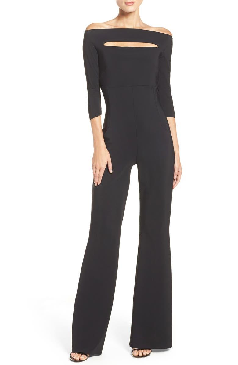 CHIARA BONI LA PETITE ROBE Katiuscia Off the Shoulder Jumpsuit, Main, color, BLACK