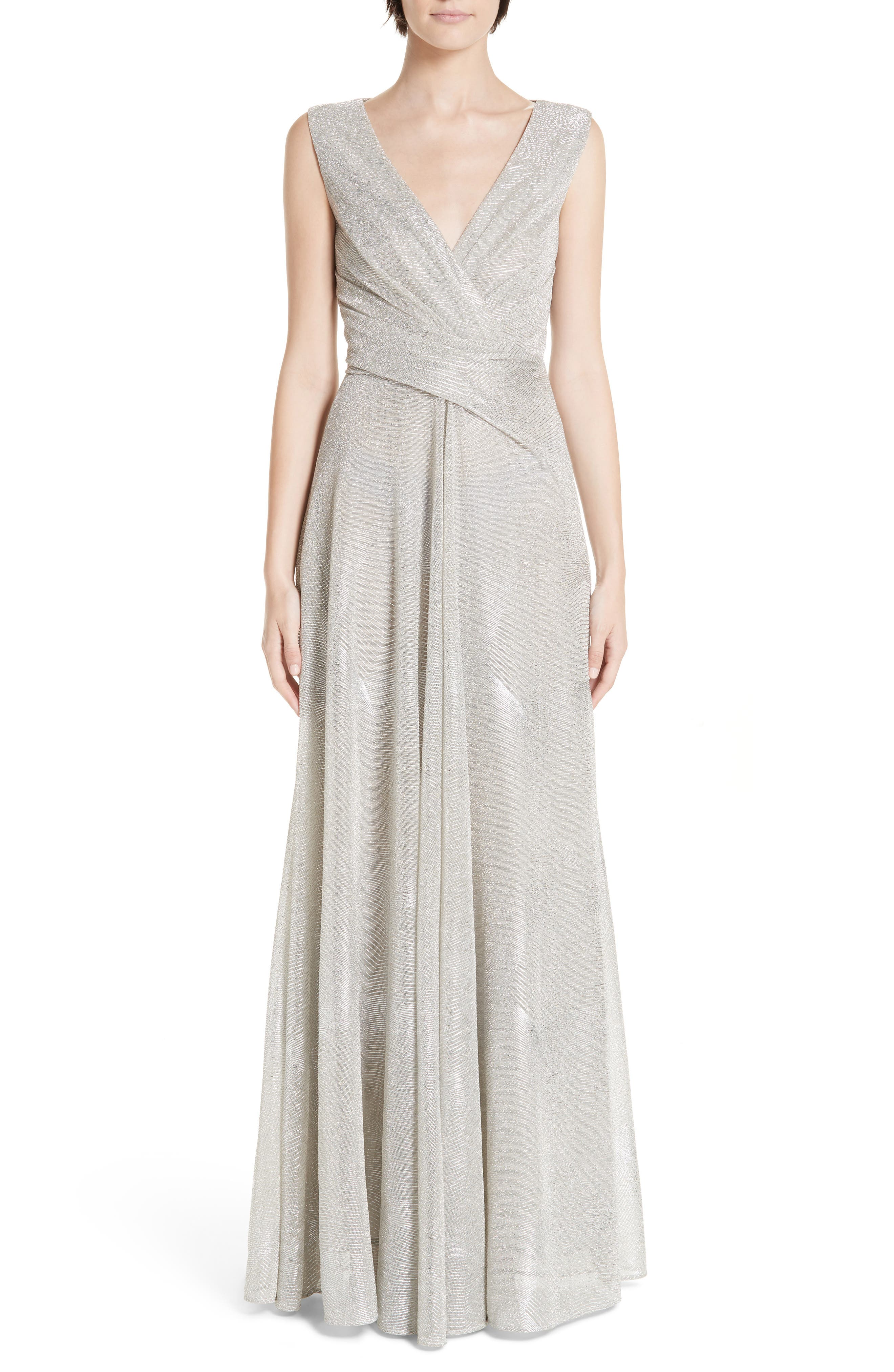 Talbot Runhof Metallic Voile A-Line Gown