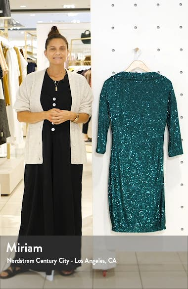 Badgley Mischka Sequin Drape Back Party Dress, sales video thumbnail
