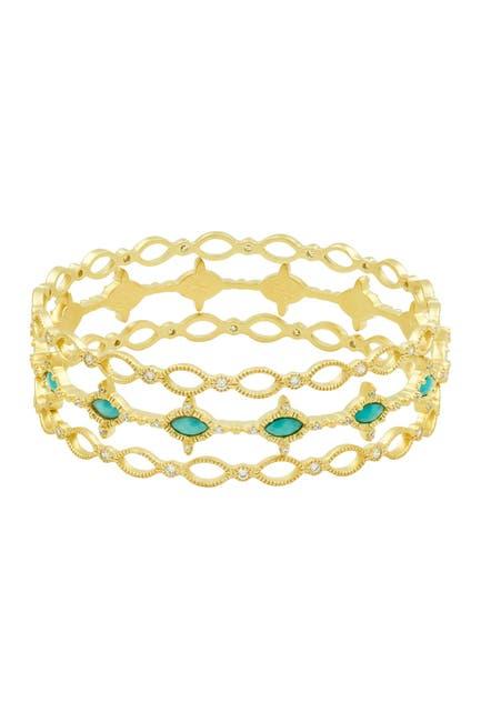 Image of Freida Rothman Amazonian Allure 14K Gold Clad Sterling Silver Stackable Bracelet Set