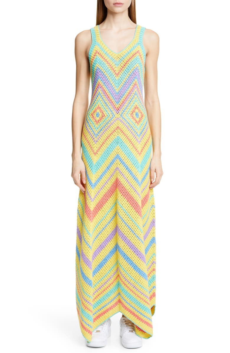 VICTOR GLEMAUD A-Line Crochet Maxi Dress, Main, color, MULTI