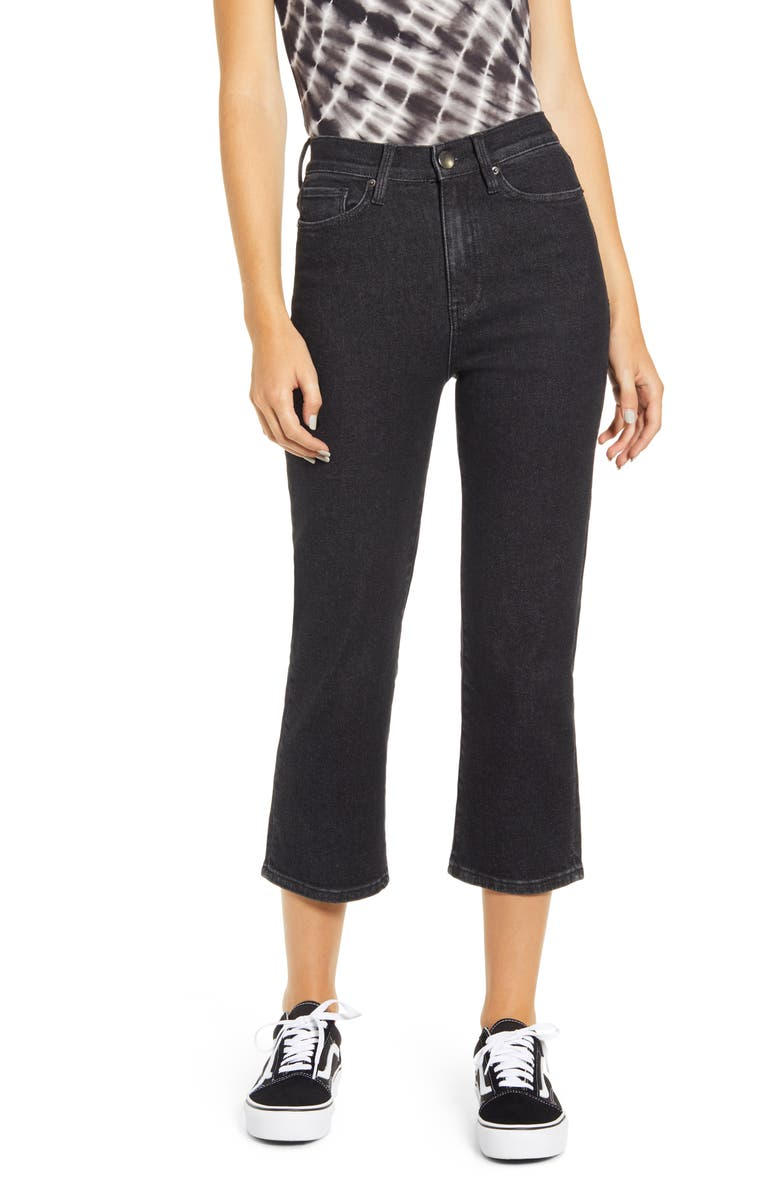PROSPERITY DENIM High Waist Straight Leg Crop Jeans, Main, color, BLACK