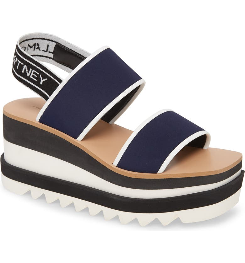 STELLA MCCARTNEY Platform Wedge Sandal, Main, color, NAVY/ WHITE