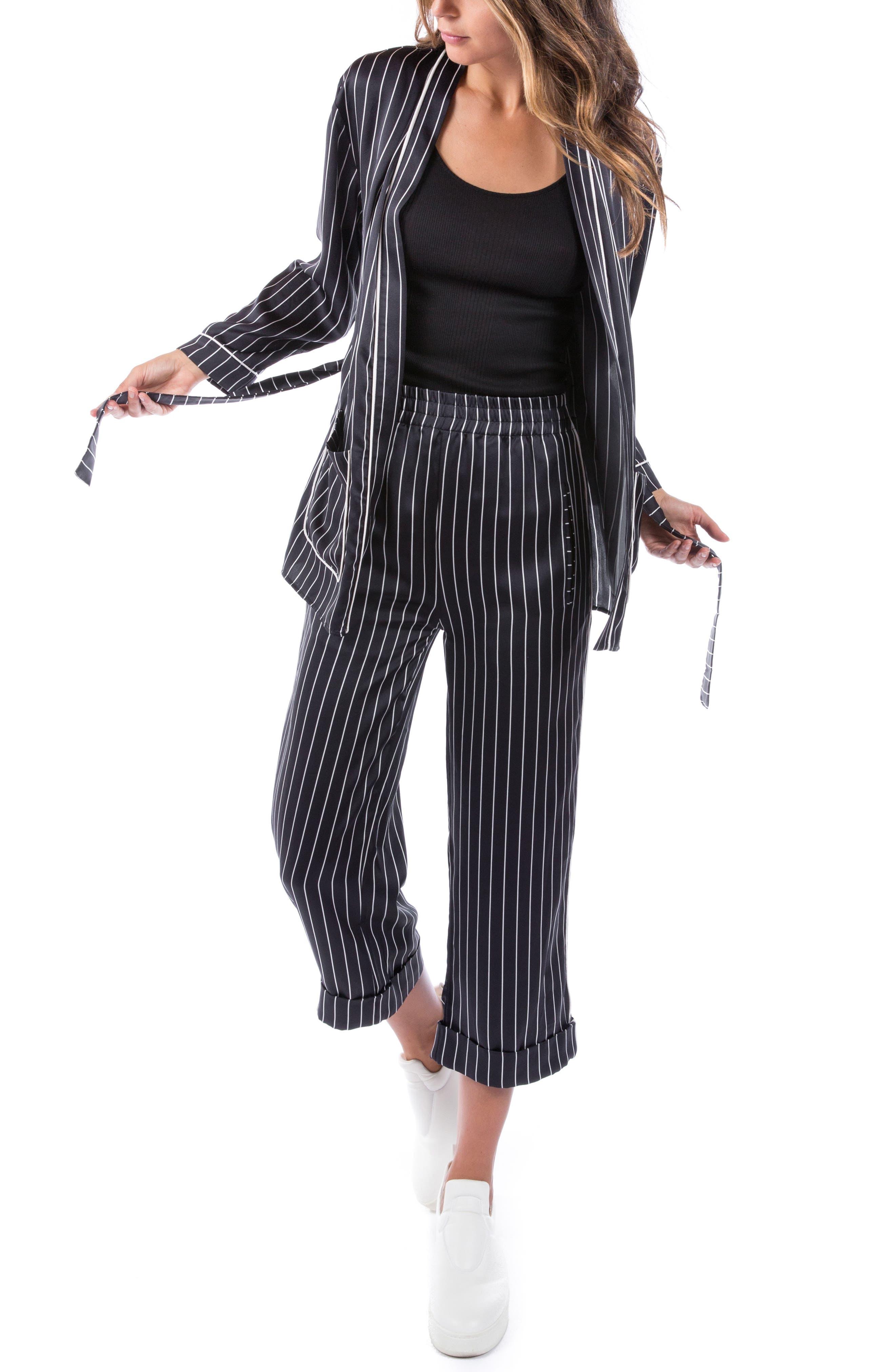 Ragdoll Pinstripe Silk Pajama Top, Black
