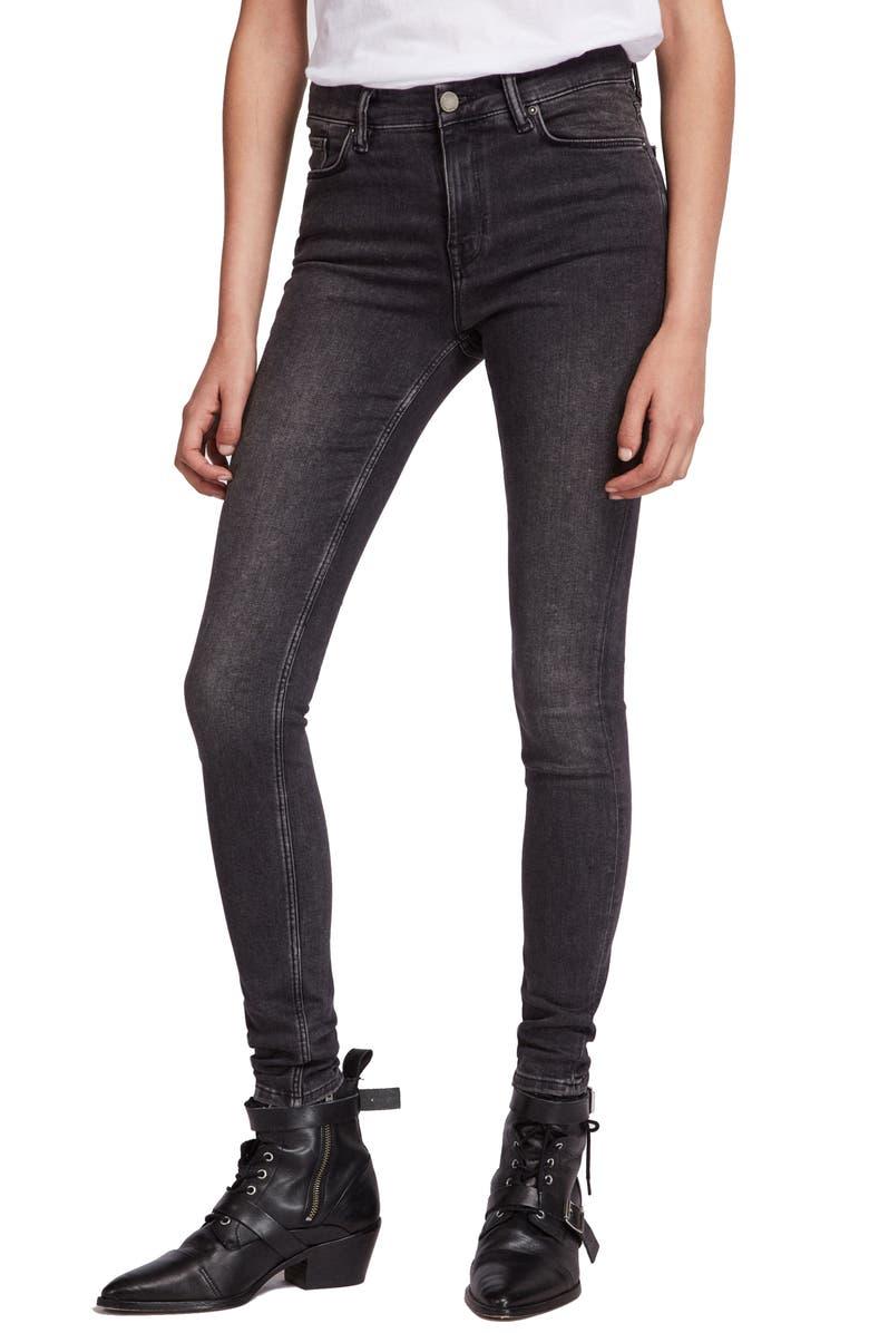 ALLSAINTS Grace Skinny Jeans, Main, color, WASHED BLACK