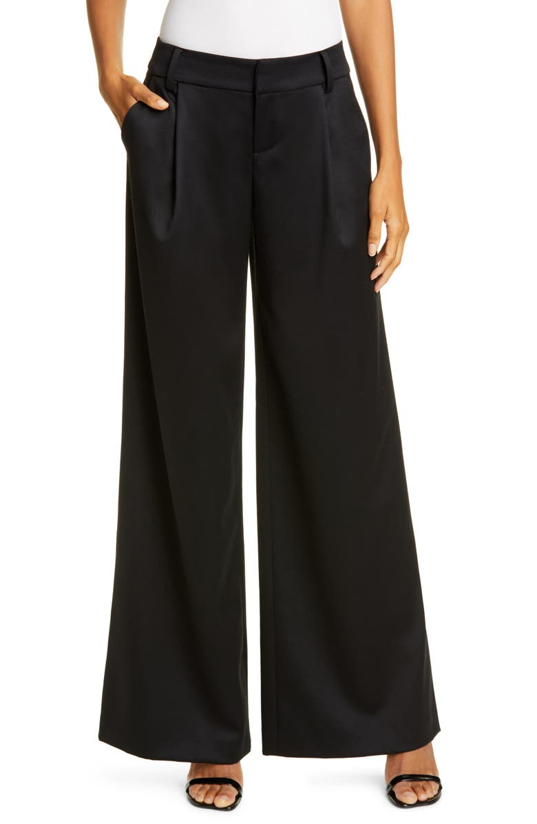 ALICE + OLIVIA Eric High Waist Stretch Wool Wide Leg Pants, Main, color, BLACK