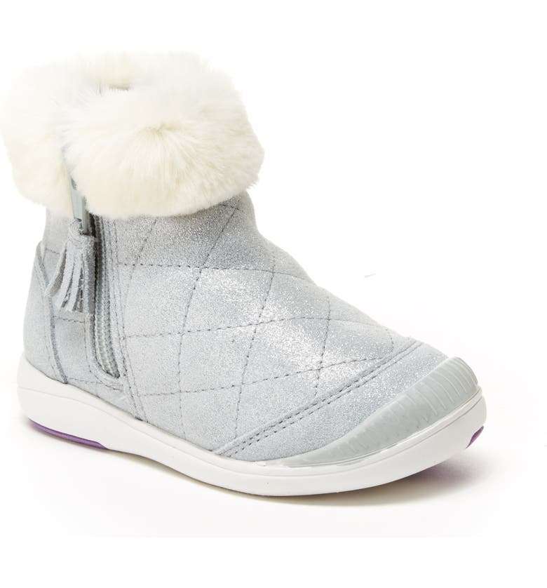 STRIDE RITE Chloe Faux Fur Quilted Bootie, Main, color, SILVER