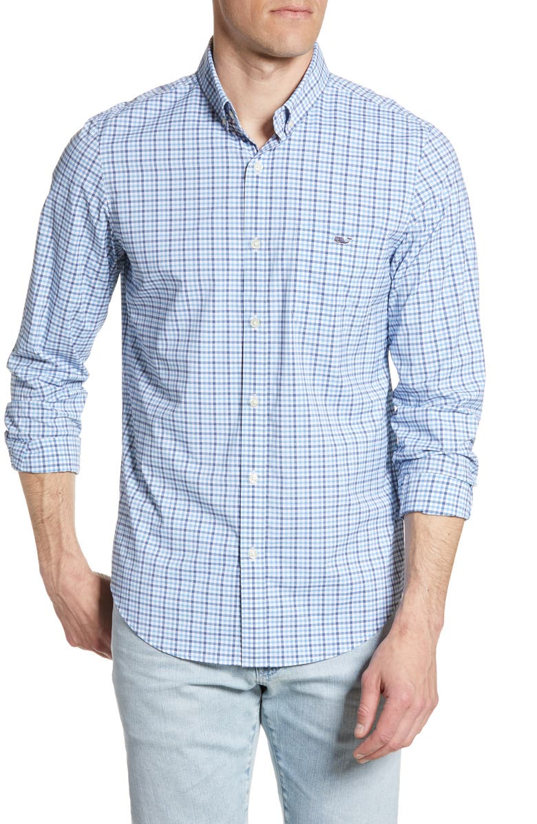 VINEYARD VINES Tucker Plaid Performance Shirt, Main, color, MOONSHINE