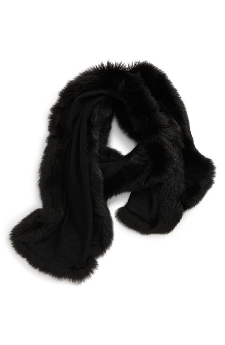 MAX MARA Aria Cashmere Scarf with Genuine Fox Fur Trim, Main, color, BLACK