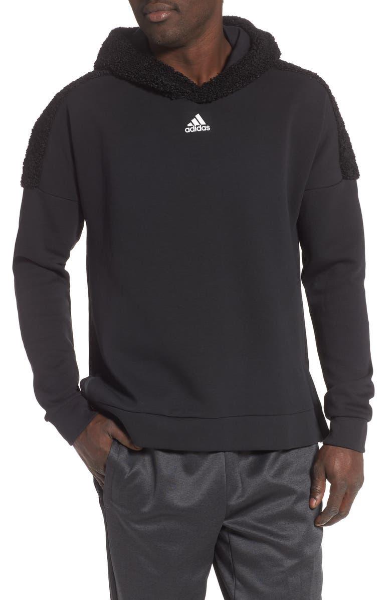 ADIDAS Fleece Hoodie, Main, color, BLACK