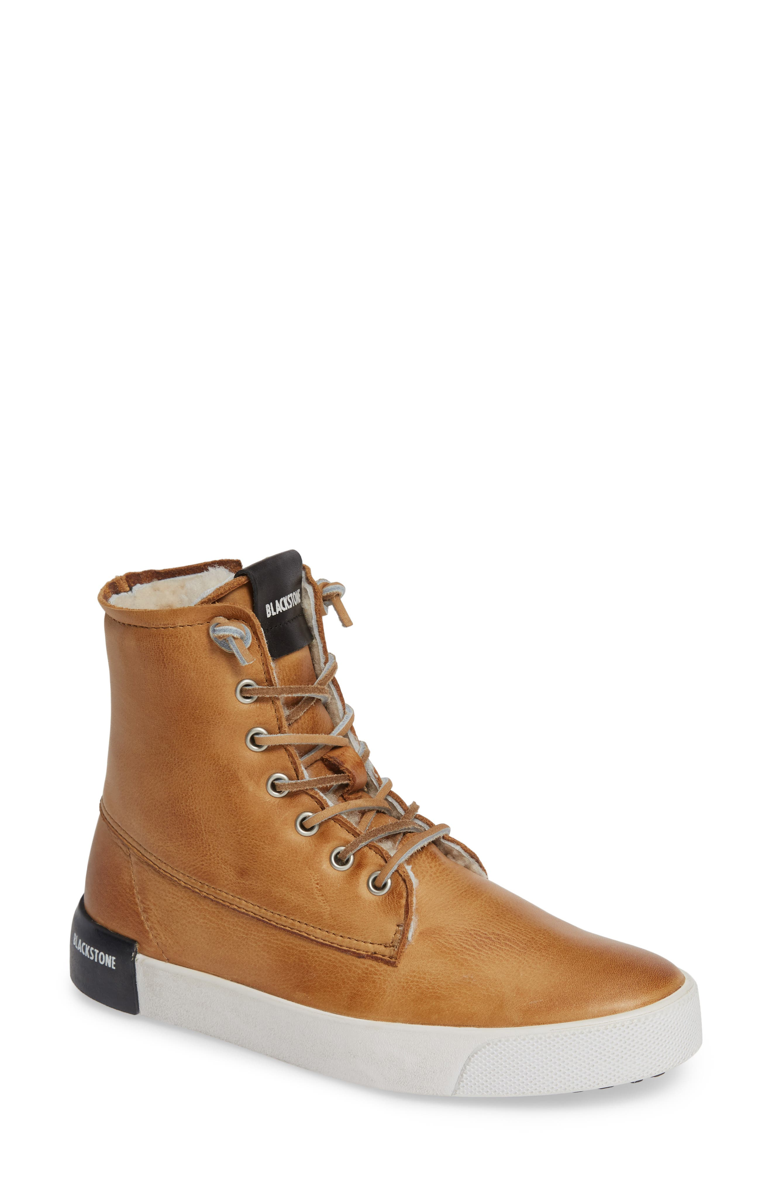 Blackstone Ql41 High Top Sneaker With Genuine Shearling Lining, Brown