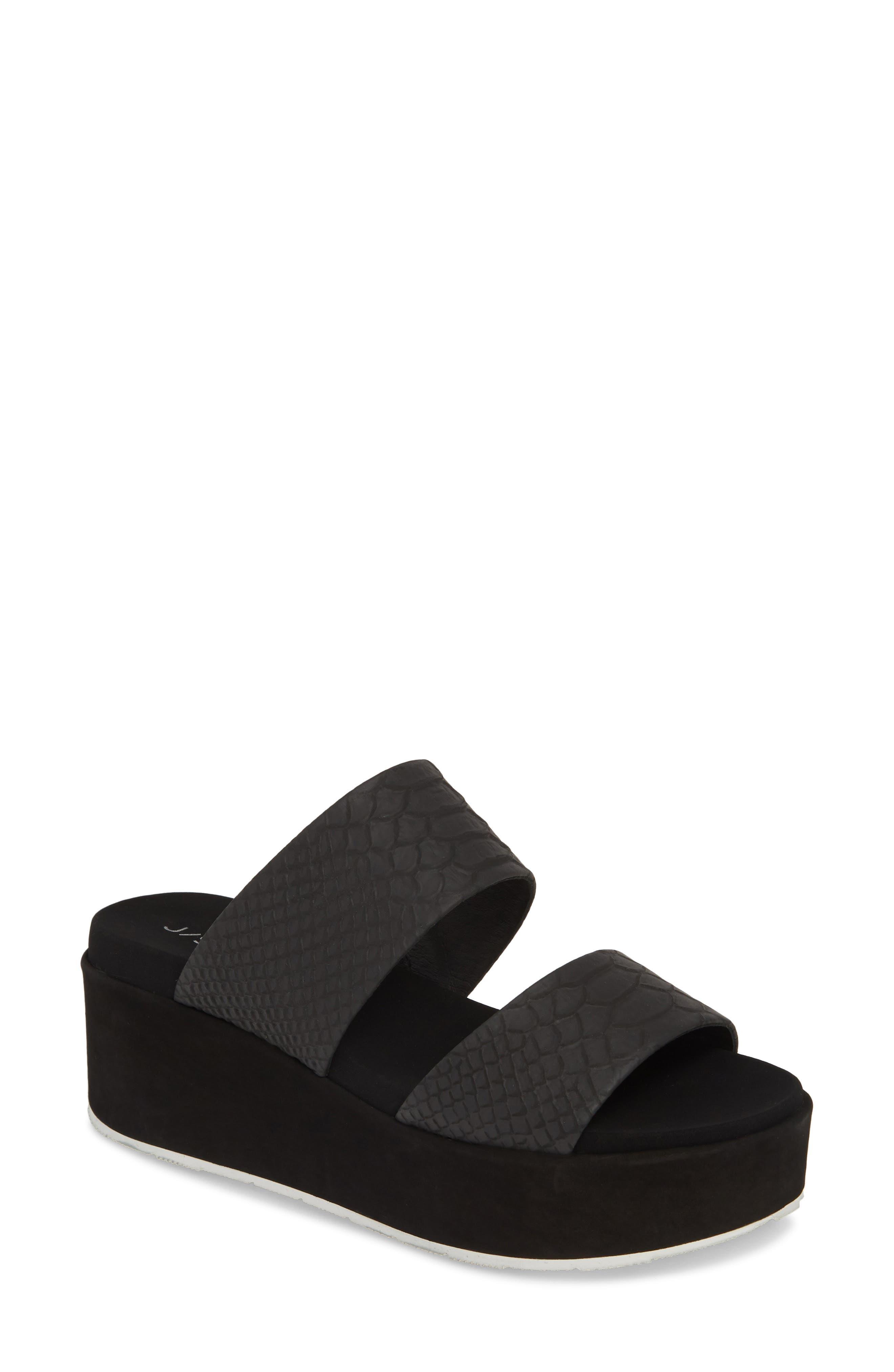 Jslides Quincy Wedge Platform Sandal- Black