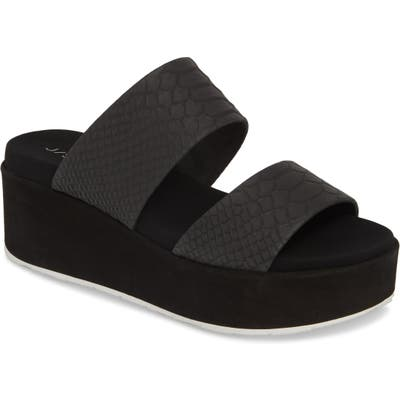 Jslides Quincy Wedge Platform Sandal- Black