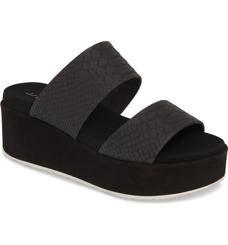 JSLIDES Quincy Wedge Platform Sandal, Main, color, BLACK EMBOSSED LEATHER