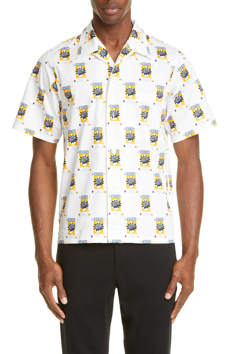 KENZO Rice Bags Short Sleeve Button-Up Camp Shirt, Main, color, WHITE