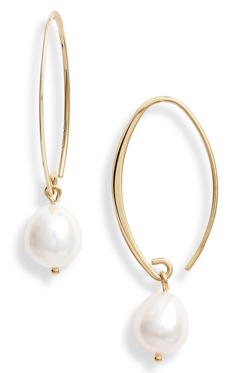 JANE BASCH DESIGNS Jane Basch Briolette Gemstone Hoop Earrings, Main, color, YELLOW GOLD/ PEARL