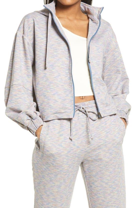Kendall + Kylie Crop Balloon Sleeve Zip Hoodie In Tropic/ Gray