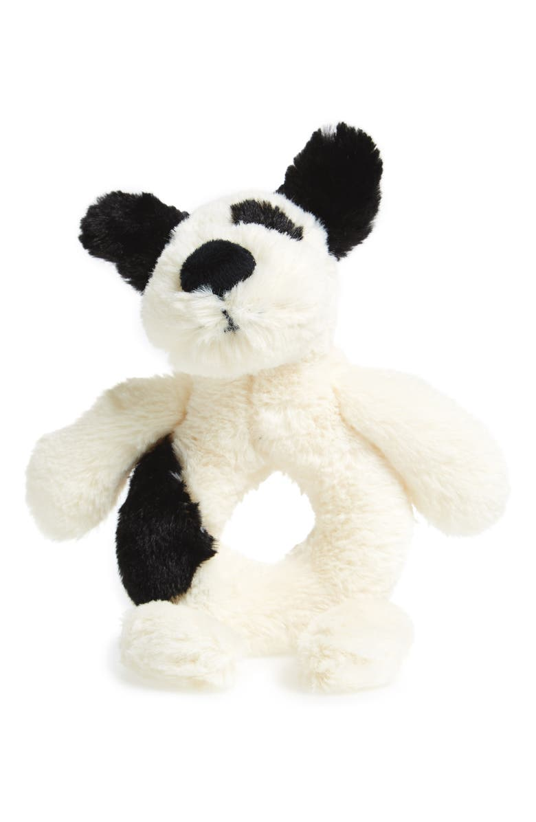 JELLYCAT 'Dog' Grabber Rattle, Main, color, CREAM/ BLACK