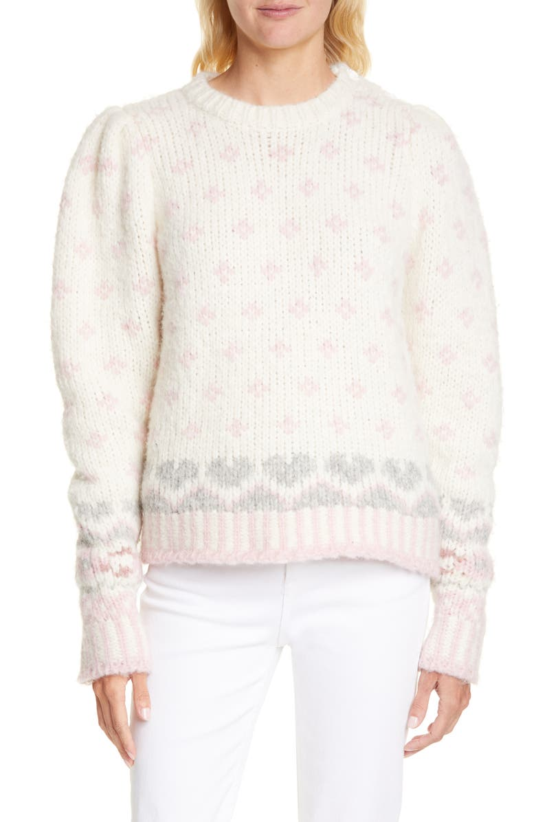 LOVESHACKFANCY Rosie Intarsia Knit Pullover Sweater, Main, color, MILKY CLOUDS
