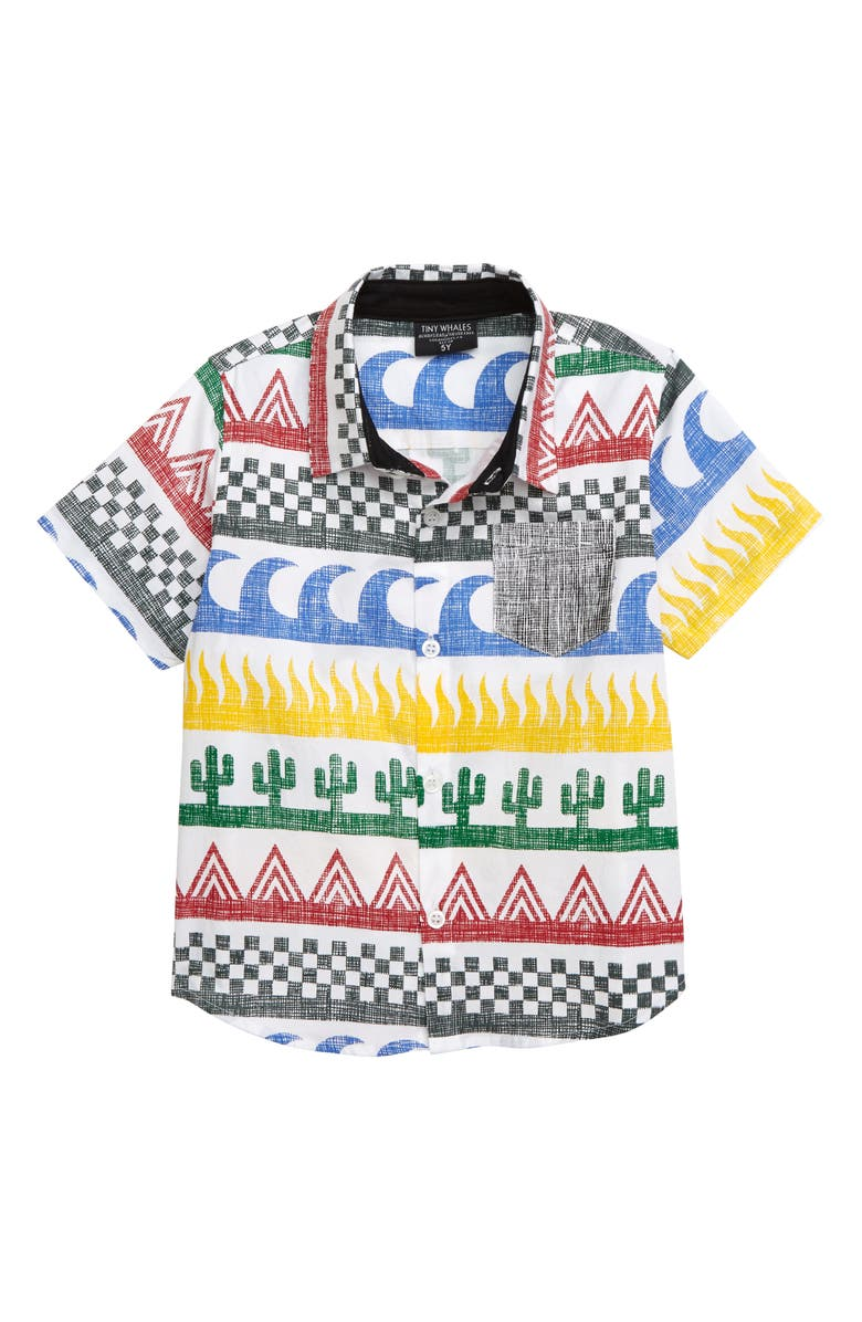 TINY WHALES Surf N Turf Woven Shirt, Main, color, 900