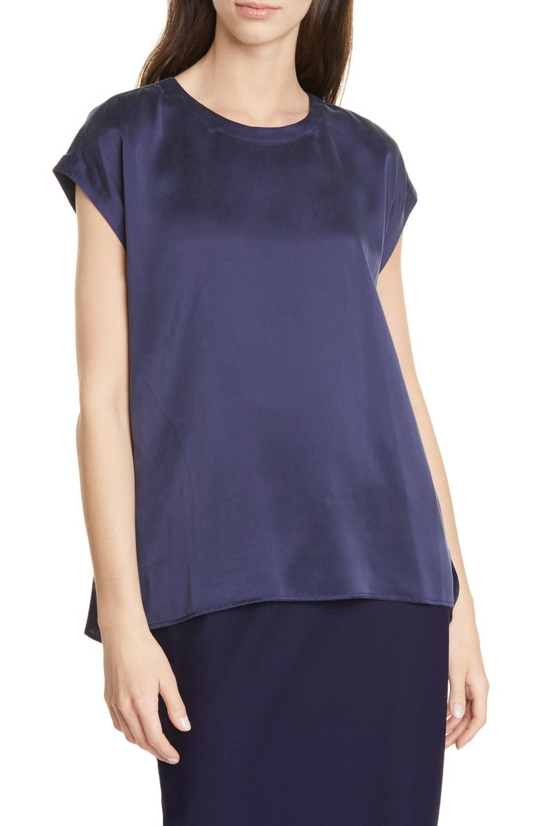 EILEEN FISHER Jewel Neck Silk Top, Main, color, MIDNIGHT