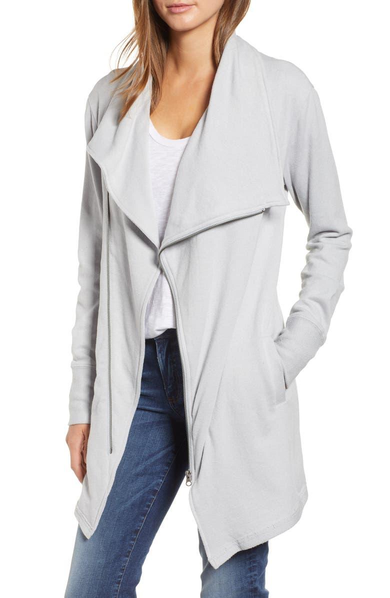 CASLON<SUP>®</SUP> Asymmetrical Drape Collar Terry Jacket, Main, color, GREY HEATHER