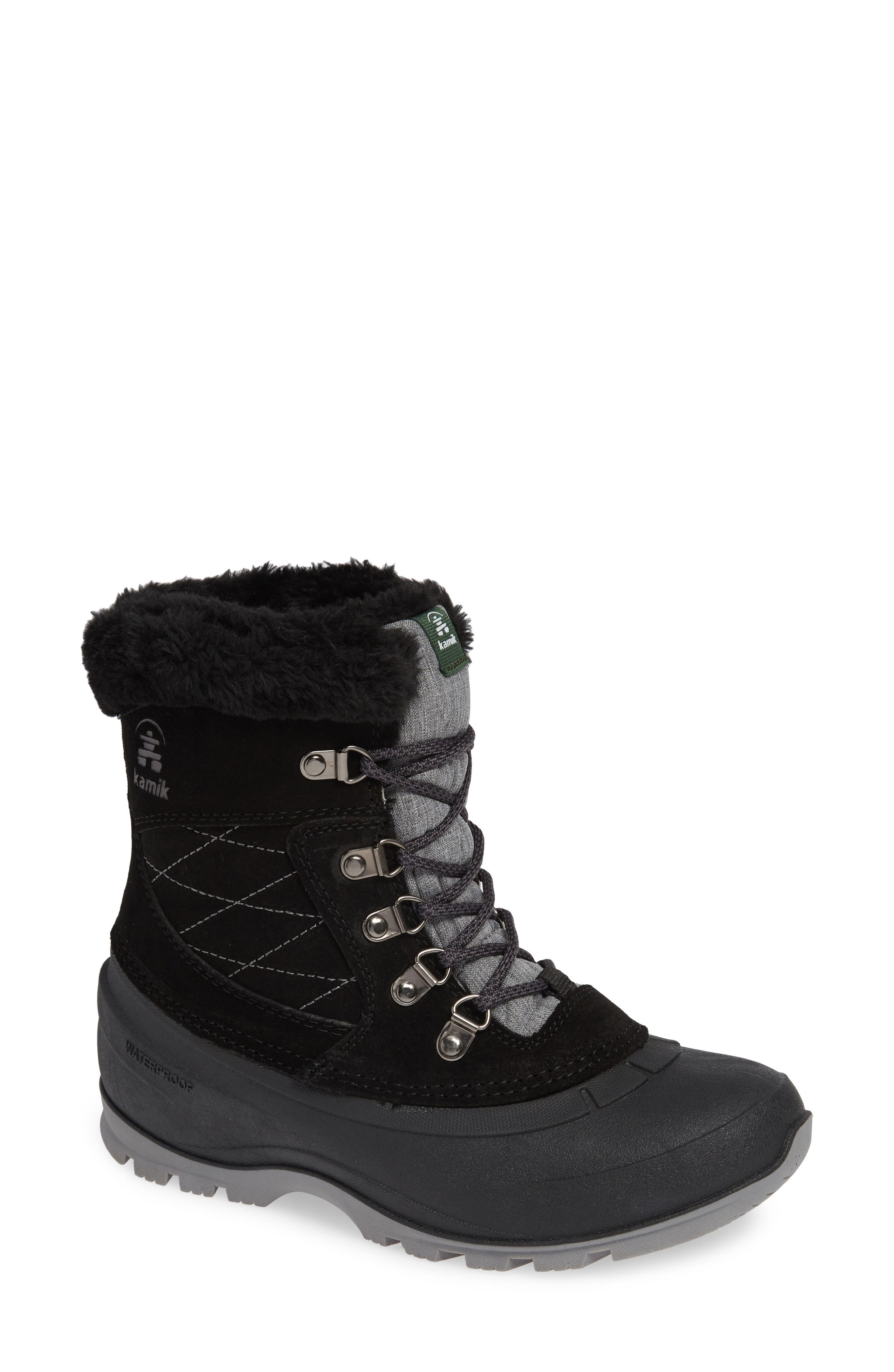 Kamik Snovalley1 Waterproof Thinsulate Insulated Snow Boot, Black