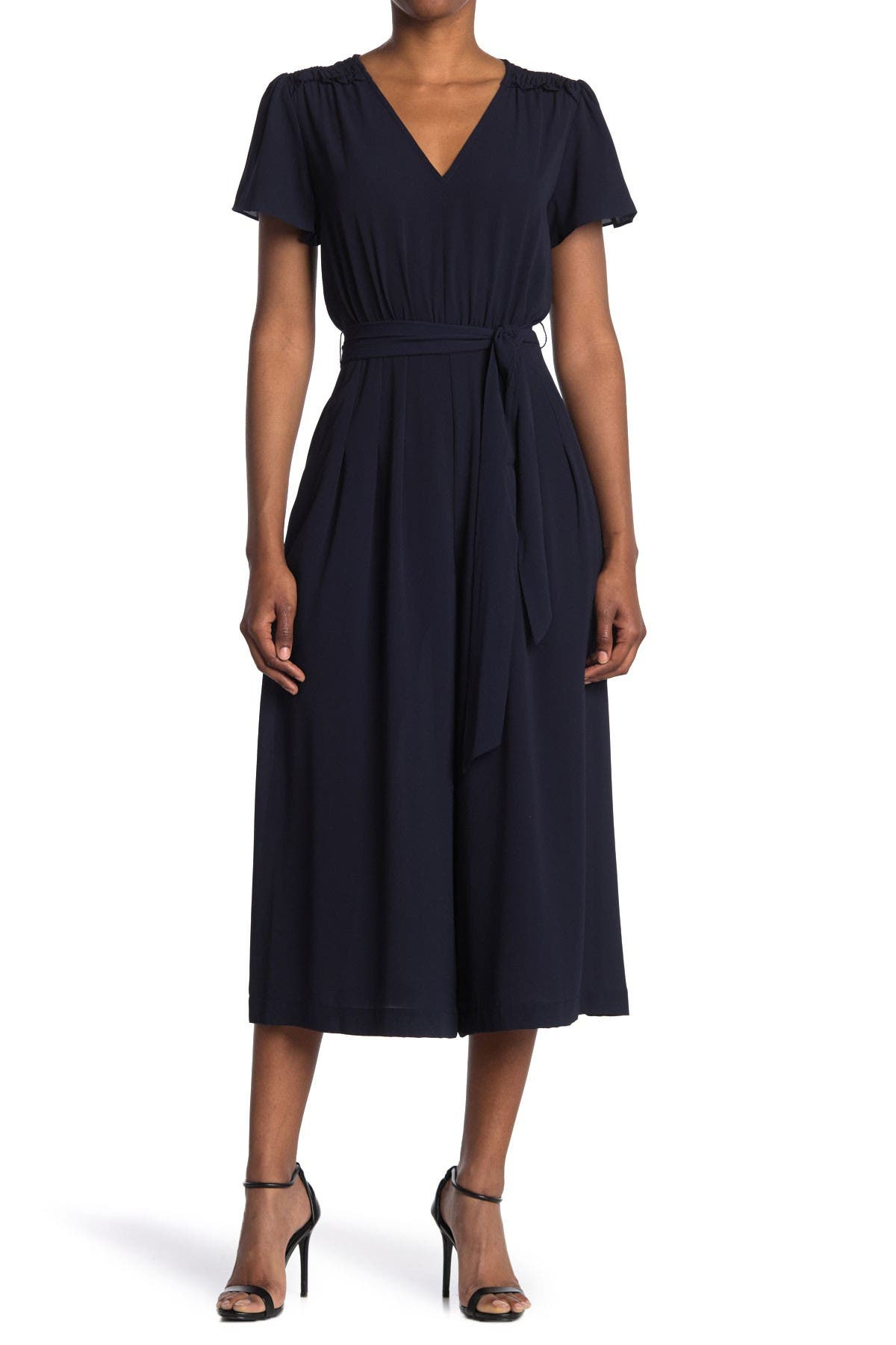 Image of Donna Morgan V-Neck Smocked Shoulder Dress