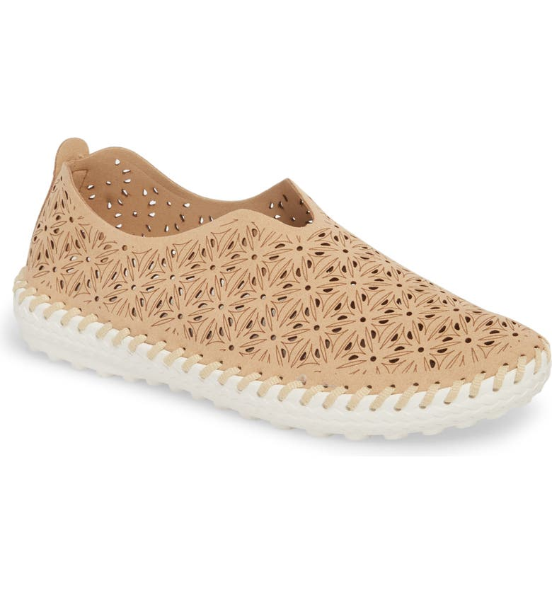 BERNIE MEV. Perforated Slip-On Flat, Main, color, NUDE LEATHER