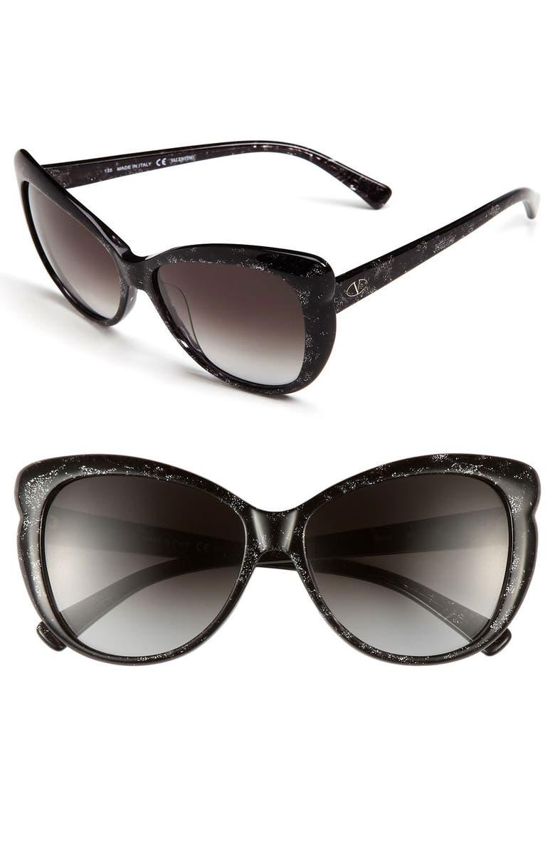 VALENTINO 56mm Oversized Sunglasses, Main, color, 020