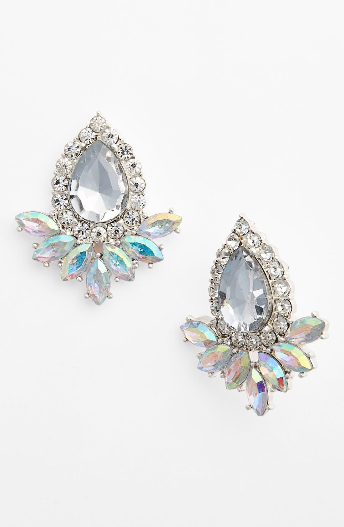 Teardrop Fan Stud Earrings, Main, color, 100