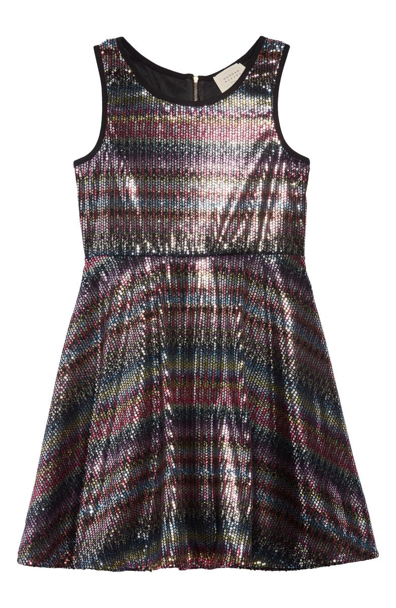 HANNAH BANANA Rainbow Sequin Fit & Flare Dress, Main, color, RED