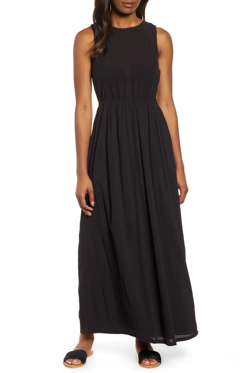 CASLON<SUP>®</SUP> Smocked Back Maxi Dress, Main, color, 001
