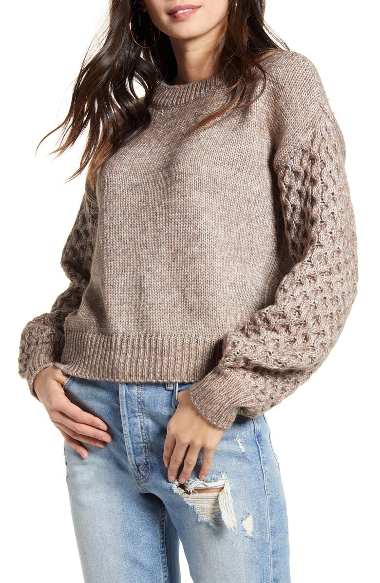 VERO MODA Bia Contrast Sleeve Crewneck Sweater, Main, color, COFFEE BEAN