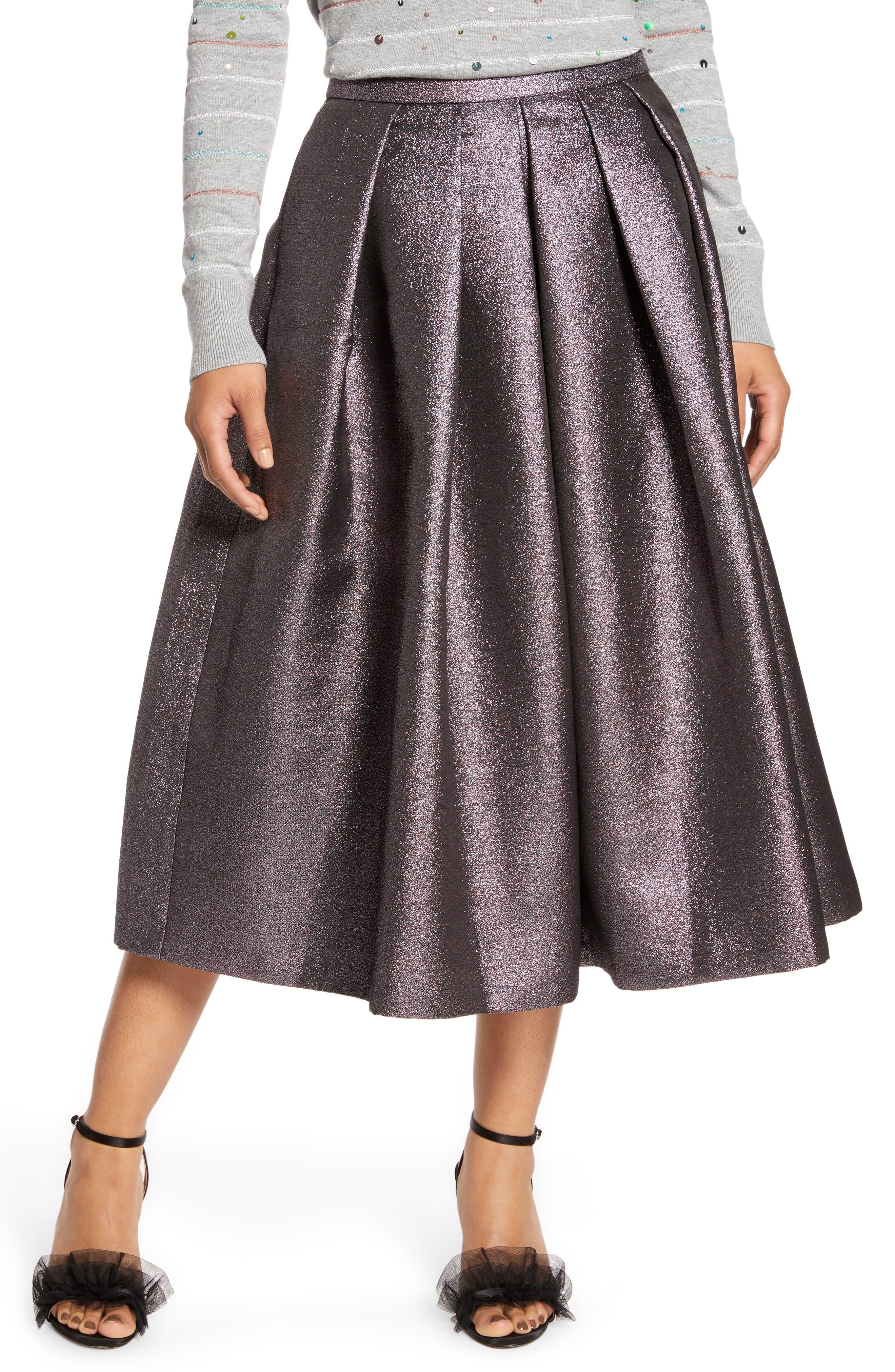 Halogen® x Atlantic-Pacific Pleated Metallic Skirt (Nordstrom Exclusive)