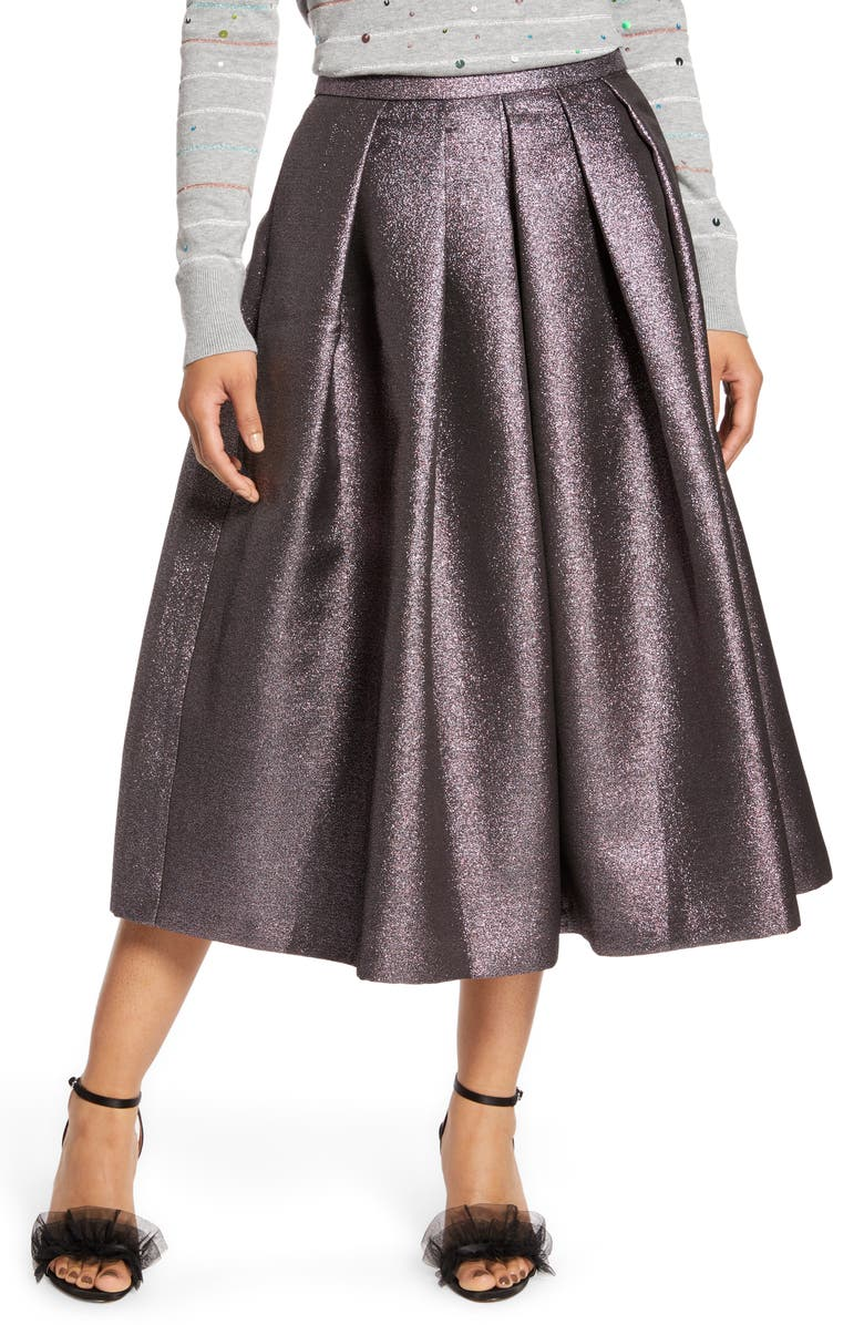 HALOGEN<SUP>®</SUP> x Atlantic-Pacific Pleated Metallic Skirt, Main, color, 510