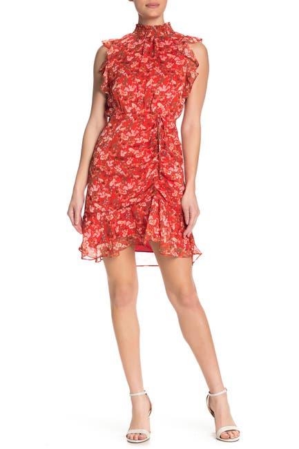 Image of Sam Edelman Metallic Ruffle Cap Sleeve Floral Print Mini Dress