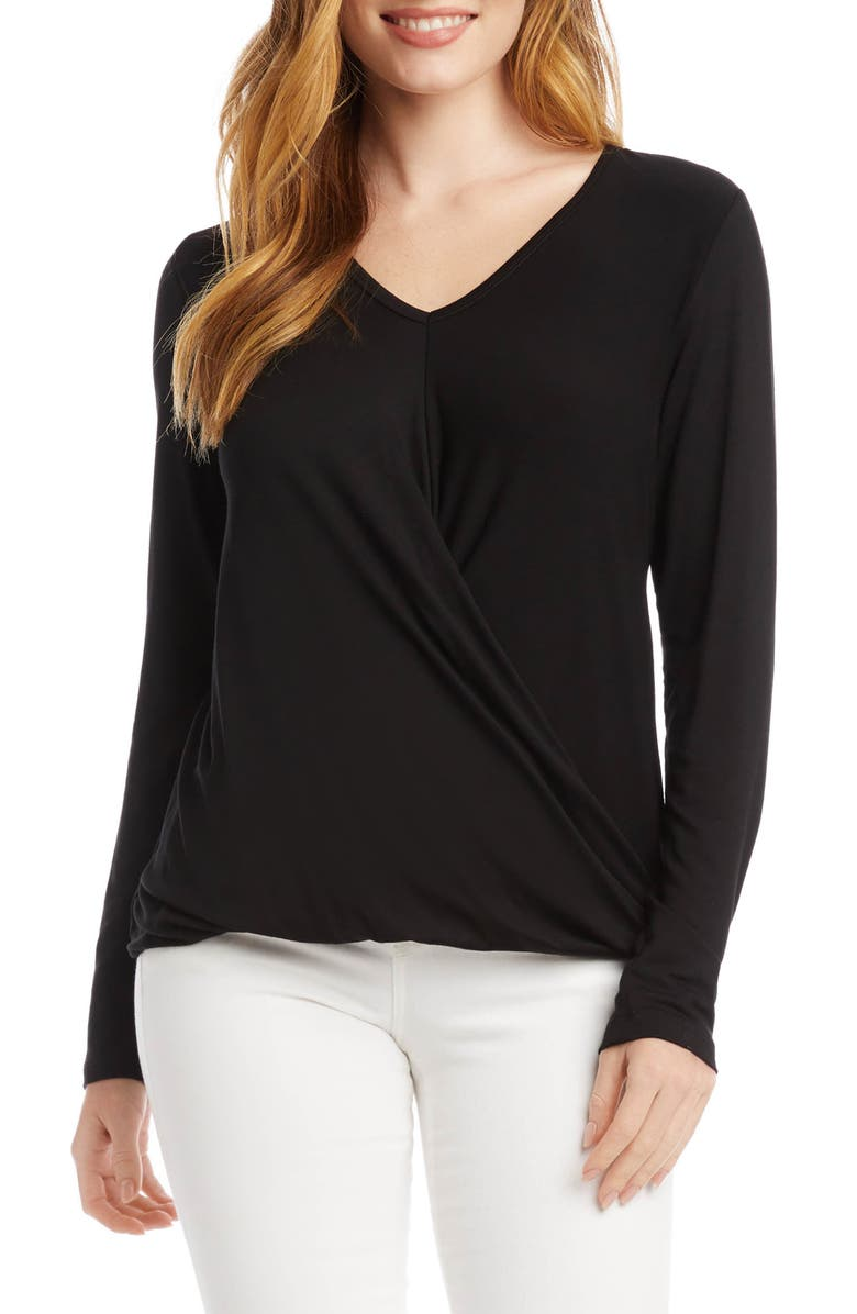 KAREN KANE Long Sleeve Drape Front Top, Main, color, BLACK