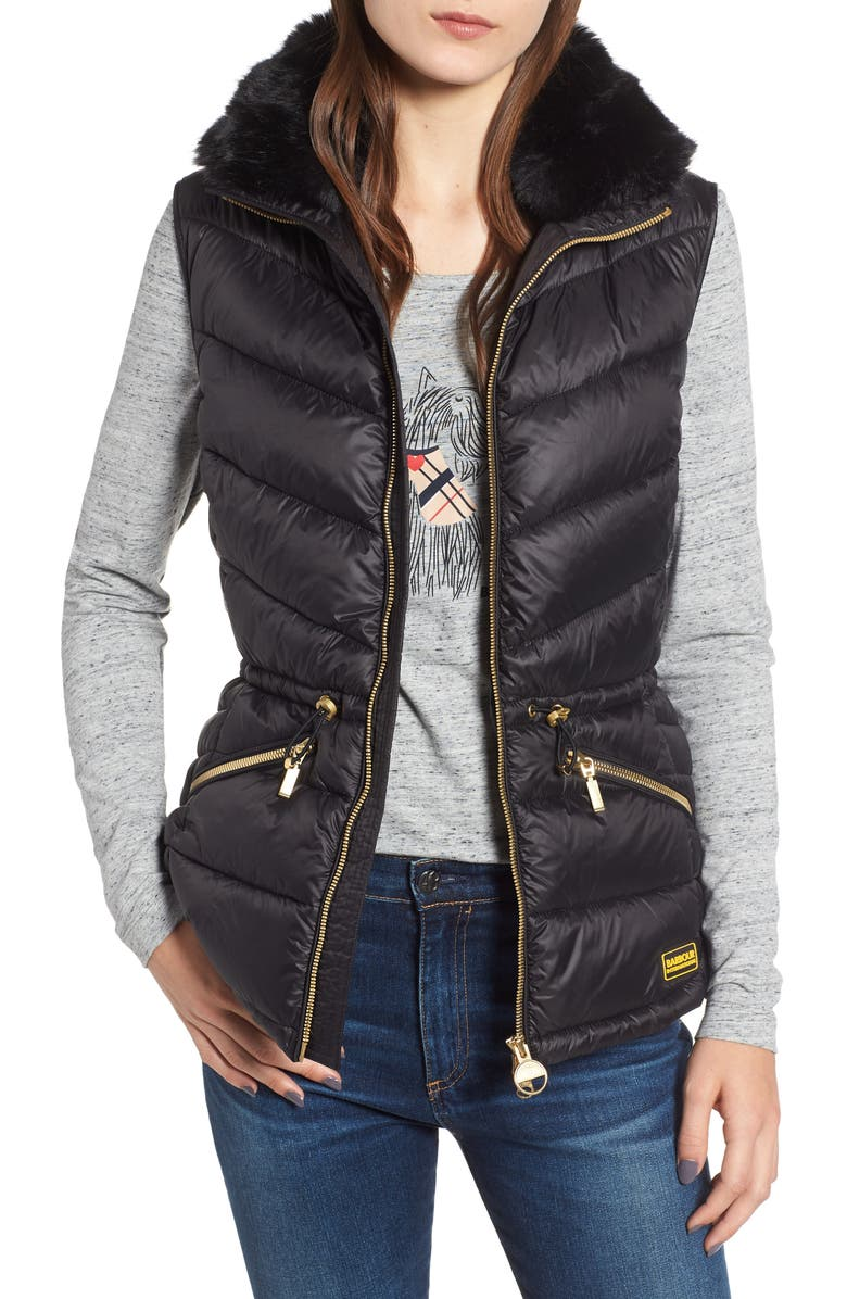 BARBOUR Victory Cinch Waist Chevron Quilted Gilet with Removable Faux Fur Collar, Main, color, 001