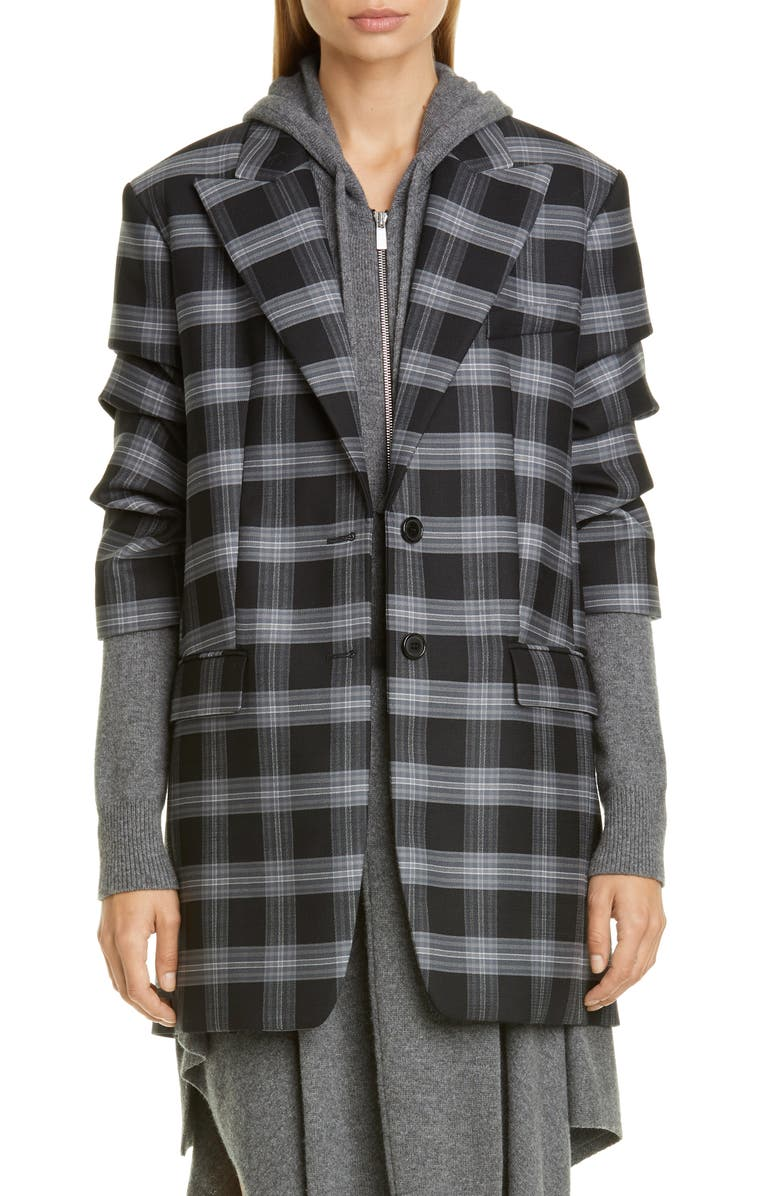 MICHAEL KORS COLLECTION Michael Kors Crushed Sleeve Oversize Blazer, Main, color, SLATE MULTI