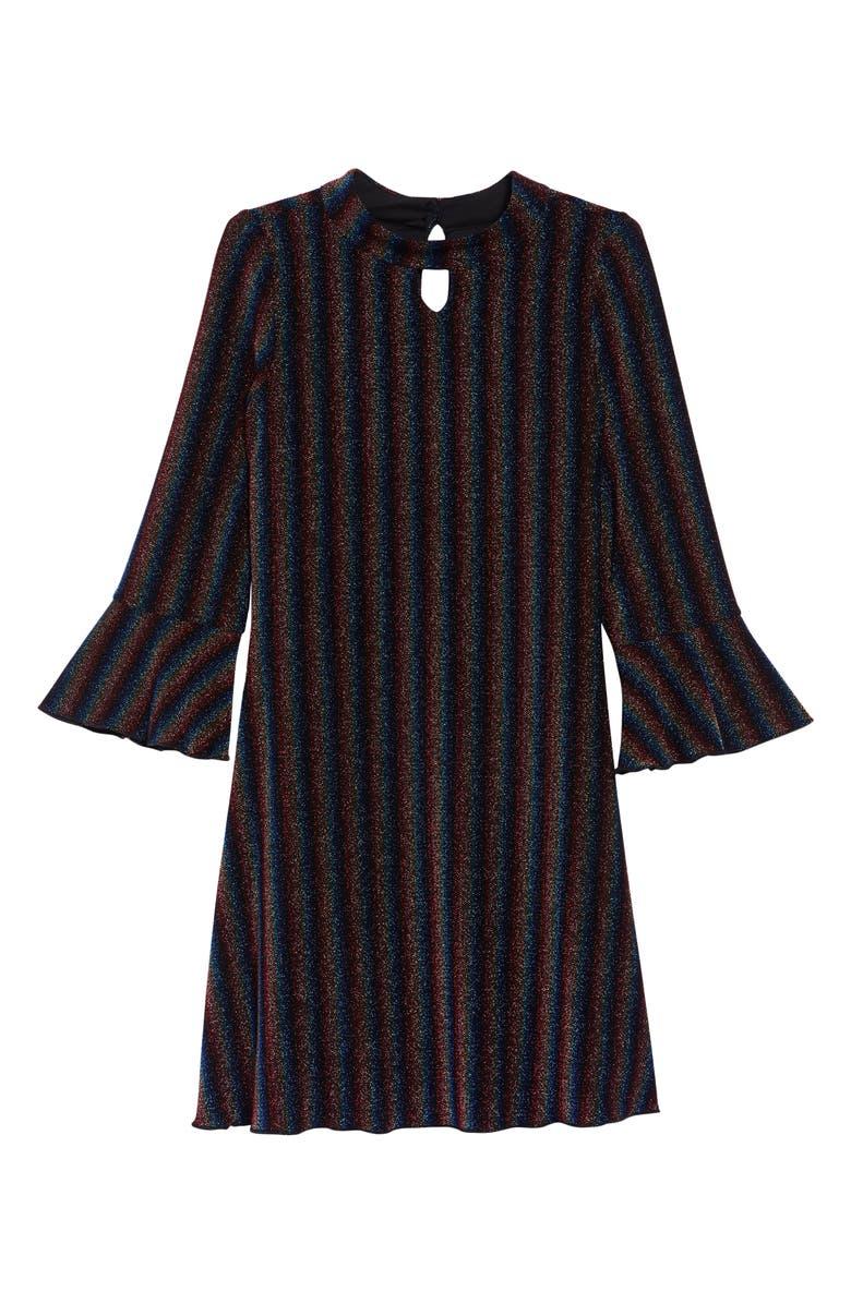 BLUSH BY US ANGELS Metallic Stripe Long Sleeve Dress, Main, color, 001