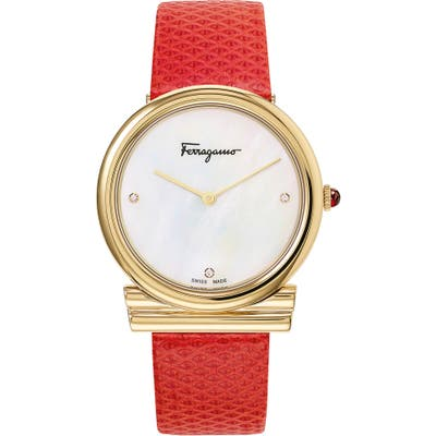 Salvatore Ferragamo Gancino Slim Karung Leather Strap Watch,