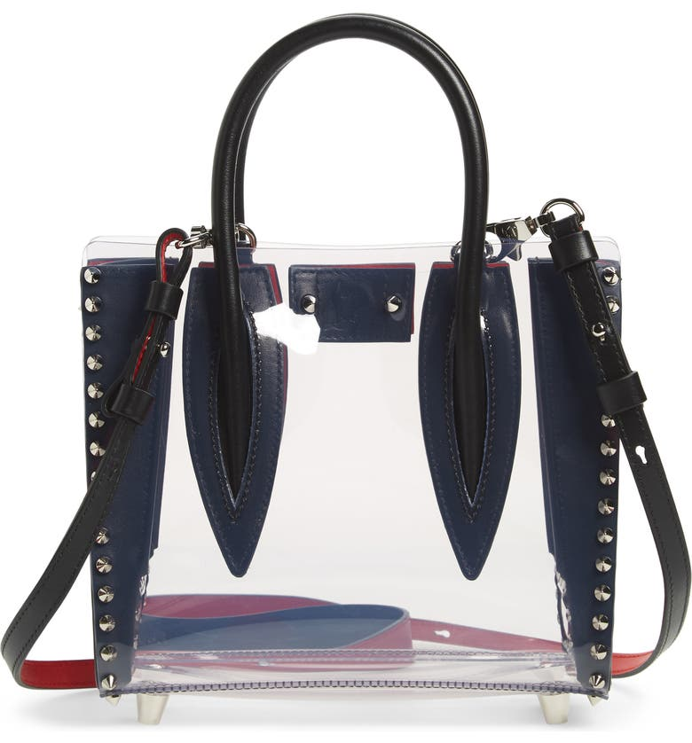 CHRISTIAN LOUBOUTIN Mini Paloma PVC Satchel, Main, color, BLACK TRANSPARENT/ SILVER