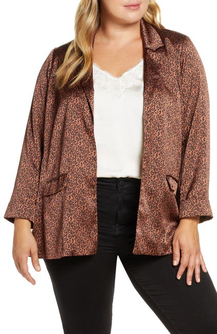 Image of Bobeau Teri Satin Animal Print Blazer